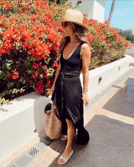Black crinkle swimsuit + ruffle wrap skirt for a pool day //   #LTKstyletip #LTKunder100 #LTKswim