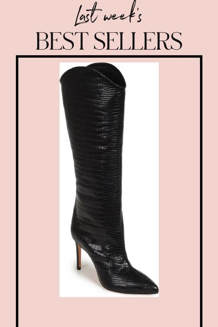 These knee high boots are included in my top sellers this week! They also come in a cream croc & snake print! #boots #blackboots #kneehighboots #cowboyboots #westernstyleboots #westernboots #heeledboots   #LTKSeasonal #LTKworkwear #LTKstyletip