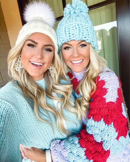 Sister, sister 💕❄️💕 These adorable sweaters are under $25 & our beanies are both under $12! Thanks so much for all the recommendations we hadthe best time walking around Park City today! #liketkit @liketoknow.it http://liketk.it/2GIu7