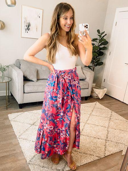 Summer dress // floral dress // wrap skirt // floral print skirt // bodysuit // vacation dress // beach dress // affordable dress // casual dress // affordable style // Walmart style // Walmart fashion finds // Walmart dress  #liketkit #LTKstyletip #LTKsalealert #LTKunder50 @shop.ltk http://liketk.it/3kzG9