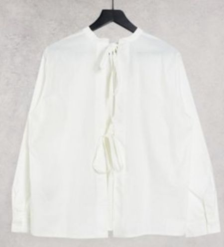 Open back blouse with tie detail   #LTKunder100 #LTKunder50 #LTKSeasonal
