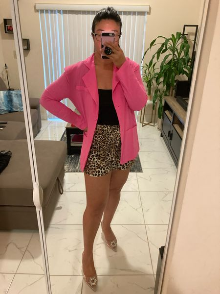 Hot Pink + Leopard = perfection   Blazer is true to size: wearing L Bodysuit is also true to size: wearing L  Shorts are from ShopStylesByE.com 🦋 they are amazing!  #LTKunder100 #LTKsalealert #LTKcurves