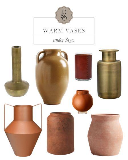 Warm toned vases for fall with gold vases, terracotta vases, handled urns, and more #vases #urns #homedecor   #LTKhome #LTKsalealert #LTKunder100