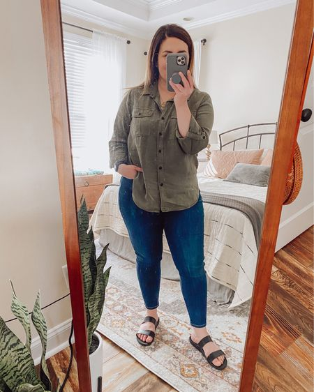 I wore this for a couple hours yesterday and, this morning, tried it with these darker jeans.  I really like this combo.   #LTKSeasonal #LTKfit