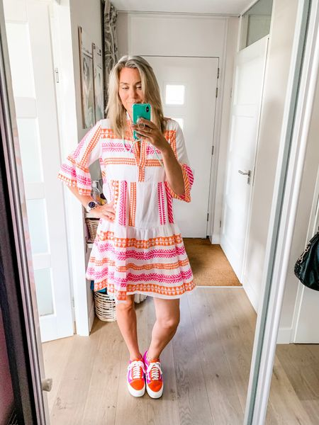 Outfits of the week-Tuesday  Working from home in this super comfortable 100% cotton kelim dress. Finally a short version that's long enough for us tall girls! The dress is one size and would fit up to an xl-xxl in my opinion.   Sneakers fit tts.    #LTKshoecrush #LTKstyletip #LTKeurope