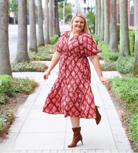 Walmart Fall outfit! Midi dress comes in a couple of other colors as well fits true to size. Booties fit true to size and also come in black. Gold jewelry. Wedding guest dress. Workwear. Printed dress. Affordable outfit. #ad   #LTKshoecrush #LTKunder50 #LTKcurves