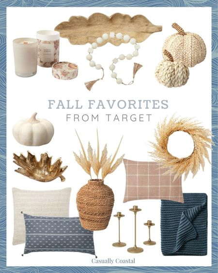 Some of my favorite fall decor pieces from Target, which are all so affordable! Don't wait on buying these pumpkins though - they will sell out just like last year! - Neutral fall decor, fall home decor, fall decorating, fall decorations, fall home decorations, home decor, decor under 50, home decor under $50, coastal decor, beach house decor, beach decor, beach style, coastal home, coastal home decor, coastal decorating, coastal interiors, coastal house decor, home accessories decor, coastal accessories, blue and white home, blue and white decor, neutral home decor, cane, seagrass, rattan, thanksgiving decor, faux pumpkins, fake pumpkins, decorative pumpkins, decorative objects, halloween decor, halloween home decor, neutral fall decor, neutral pumpkins, textured decor, textured pumpkins, rattan pumpkins, woven pumpkins, white pumpkins, thanksgiving tablescape, fall tablescape, fall target decor, target home decor, target fall decor, target finds, affordable fall decor, affordable home decor, fall pillows, fall pillow covers, fall throw blankets, fall candles, pumpkin candles, fall stems, fall wreaths, fall vases, pampas grass, stems for vase, coffee table decor, bookshelf decor, target decor, target home, decorative beads, bead strand decor, beads decor, wood bowls, textured decor, blue and white pillows, chunky knit throw blanket, navy throw blanket, target throw blanket, ivory pillows, rust pillows, woven vase, rattan vase, brass candle holders, leaf bowl, fall bowls, fall candles, fall wreath, wheat grass wreath  #LTKunder50 #LTKSeasonal #LTKhome