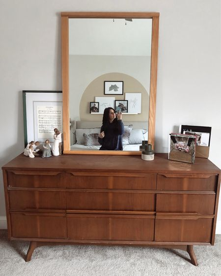 I am kind of obsessed with mirrors and before you judge my color coordination, just wanted to show you the before pic... this dresser and mirror are getting a face lift. Some details of this room are on @liketoknow.it http://liketk.it/2Kj8A #LTKhome #liketkit #selfie