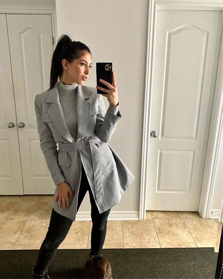 Love a good blazer! This one is absolutely stunning on. And the turtlenecks are essential for fall/winter!  Use code HANAN for an additional discount on the blazer and turtleneck ❤️  http://liketk.it/34OE8 #liketkit @liketoknow.it  #blazer #turtleneck #phonecase #greyblazer #greycoat #blackquiltedphonecase #blackphonecase #blackchanelcase