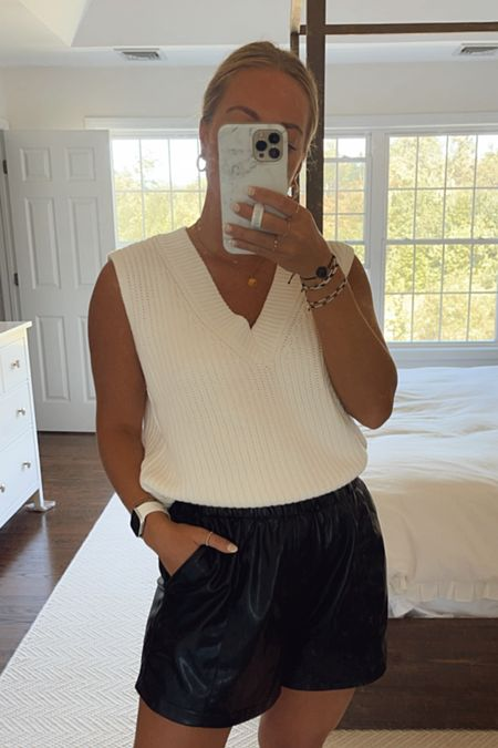 Sweater vest fir fall with leather shorts, love this Abercrombie outfit   #LTKSale #LTKstyletip #LTKunder50