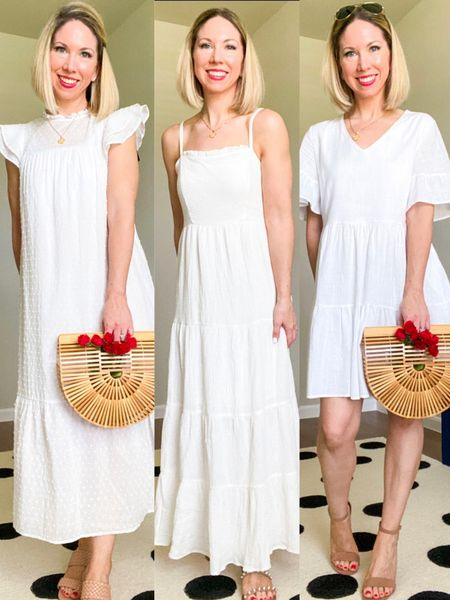 Three white dresses for Summer!  Which one is your favorite?   Wearing all three in  XS   1st one has pretty dotted Swiss material that is so comfy and doesn't cling at all.  Can be dressed up or down.  Also comes in black and has plus sizes.  Second one is tired dress that flows so nice and has adjustable straps.  Would make a perfect summer dress or beach coverup. Comes in other colors and plus sizing.   Third dress is short, has short sleeves and can be dressed up or down.  Dress is very comfy and flowy but not a lot of give in the bust.  I'd size down one, especially if in between sizes, unless you have a fuller bust. Comes in a bunch of colors.        White dresses, white dress, summer dresses, Target style, amazon fashion #ltkshoecrush #ltkstyletip #ltkitbag    http://liketk.it/3hVUG #liketkit @liketoknow.it #ltksalealert  #LTKstyletip #LTKunder50 #LTKtravel #LTKSeasonal
