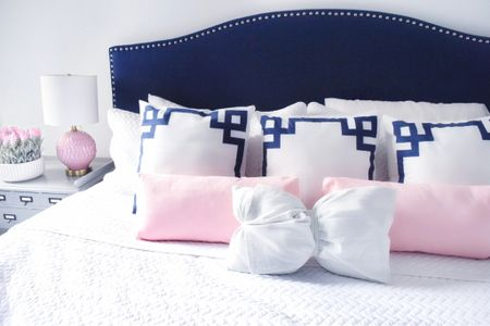 Guest room cozy navy and blush 💞 ☁️  . .  http://liketk.it/37D9D #liketkit @liketoknow.it #StayHomeWithLTK #LTKunder50 #LTKhome @liketoknow.it.home room decor, bedroom decor, home decor, headboard, throw pillows, bedding, Valentine's Day decor, pink decor