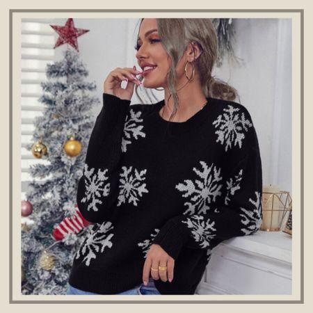 Snowflake pattern Christmas holiday sweater from Shein   #LTKHoliday #LTKstyletip #LTKunder50