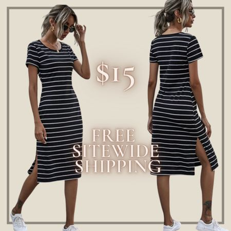 Striped split thigh tshirt dress from Shein and free sitewide shipping today   http://liketk.it/3hZYC #liketkit @liketoknow.it #LTKunder50 #LTKstyletip You can instantly shop my looks by following me on the LIKEtoKNOW.it shopping app