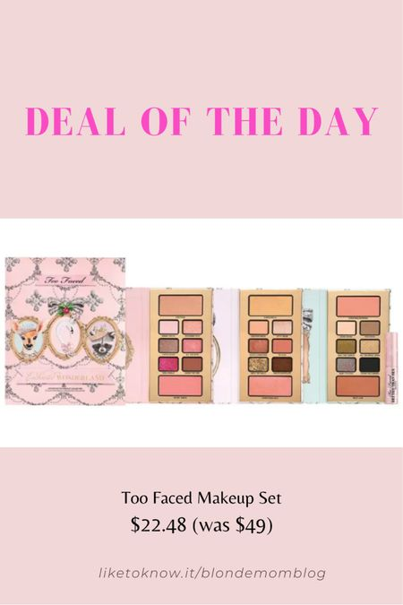 This is such a great deal on a great makeup brand! Plus it comes with a travel size of Better than Sex mascara! This is a winter holiday theme kit packaging but honestly who cares!  #toofaced #makeup #beauty #Mascara #eyeshadow  #LTKunder50 #LTKbeauty