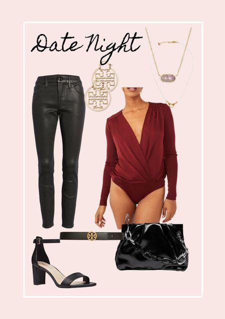 Holiday party. Halliday look  Date night look. Tory Burch. Sale. Coated denim. Coated pants  #LTKHoliday #LTKsalealert #LTKstyletip