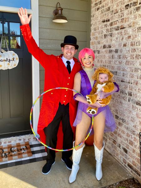 Family Costume Idea The Greatest Showman, Newborn baby, Lion costume, ring master costume, trapeze costume, white cowboy boots  #LTKkids #LTKbaby #LTKfamily