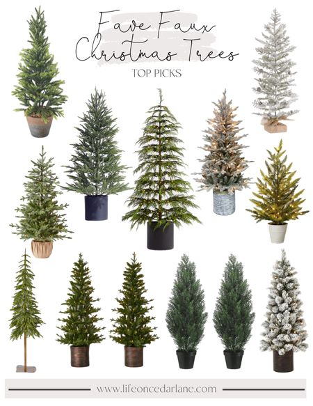 Fave Faux Christmas Trees- so many favorites for your front door or entry way!! Also, so cute with a holiday doormat!   #fauxchristmastrees #christmastrees  #LTKHoliday #LTKSeasonal #LTKhome