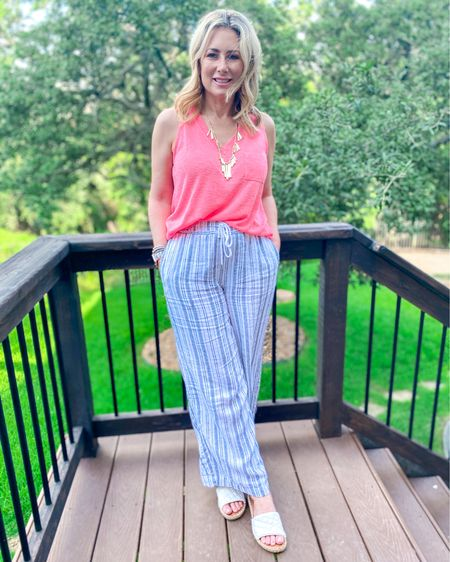 Keeping it easy and breezy with lightweight separates today. Wearing a new release from @kendrascott-I love a statement necklace that's NOT heavy! Two separate links in my profile-one for the top and one for the rest of the outfit. Stay cool! Use code MARNIE with the top to get free 2-day shipping! #summeroutfit #neon #linen #fashionover40 #fashionover50 #regularruthie #walmartfashion #linenpants #LTKunder50 #LTKshoecrush #LTKsummer #liketkit @liketoknow.it http://liketk.it/3jWuP