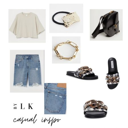 Casual Outfit Inspo  High waisted bermuda denim shorts are super flattering. Can dress them up or down, so versatile! Love the oversized cropped tee @ only &9.99 will also look great with a skirt or mom jeans.  The sandals are everything. Waiting for mine to be delivered. So many ideas on how to style them   @liketoknow.it #liketkit #LTKstyletip #LTKshoecrush #LTKunder100 http://liketk.it/3eoED