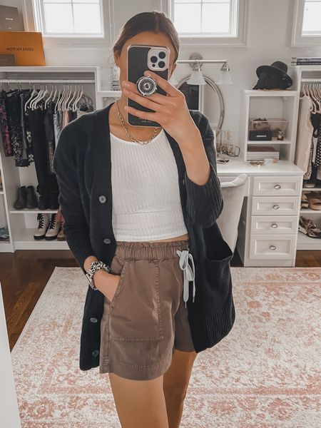 Spring outfit of the day - aerie pull on shorts, camp shorts, easy woven short, white ribbed cropped tee, crop top, black cardigan, gold chain necklace   #LTKunder100 #LTKstyletip #LTKSeasonal