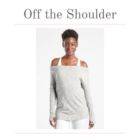 Love this! Wear the off-the-shoulder long sleeve top to and from your yoga practice or barre studio. This sweatshirt is lightweight and SUPER soft, stretchy, and comfortable. The off-the-shoulder design layers beautifully over your favorite sports bra and tank. Great for before and after workouts.  Available in petite sizing!   #kimbentley #fitness #yoga