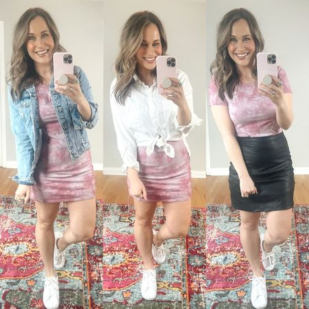 This target style dress is a must have! It's only $12 and is so versatile. I am wearing a size large, it runs a little small. I love this cute little tie dye dress. Also paired my jean jacket, white button down shirt and faux leather skirt! This mini skirt is an amazon find, this white shirt and distressed jean jacket is 25% off! Also linked my white sneakers and gold hoops. http://liketk.it/3aEKa #liketkit @liketoknow.it #LTKsalealert #LTKshoecrush #LTKstyletip