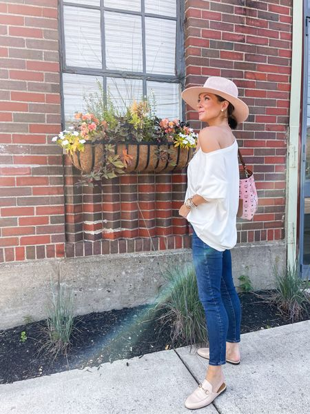 all saints off the shoulder top (tts, xs) good american jeans (sized up one to 0) gucci loafers (tts, I have a narrow foot)   #LTKunder100 #LTKstyletip #LTKsalealert