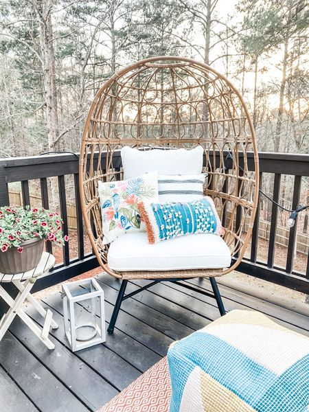 Outdoor patio must-haves. Egg chair. Patio decor! Outdoor pillows and outdoor poof. Outdoor living http://liketk.it/3iYQG #liketkit @liketoknow.it #LTKstyletip #LTKhome @liketoknow.it.home Shop your screenshot of this pic with the LIKEtoKNOW.it shopping app