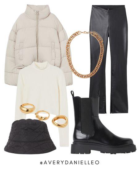 H&M NEW ARRIVALS - neutral, aesthetic, fall wardrobe, basics, puffer coat, leather pants, bucket hat  #LTKstyletip #LTKshoecrush #LTKSeasonal