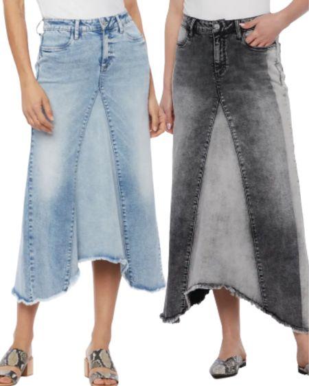 Hippy pieced denim midi skirt. A denim midi skirt with a twist. Looks Like you're wearing jeans over a skirt.  By Wash Lab Sizes 25 - 32 $84.90  #mididenimskirt #nsale #nordysale  #LTKsalealert #LTKstyletip #LTKunder100