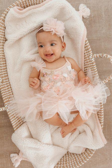 Baby girl 5 months tutu du monde dress changing basket Moses basket Sherpa blanket pottery barn   #LTKfamily #LTKbump #LTKbaby