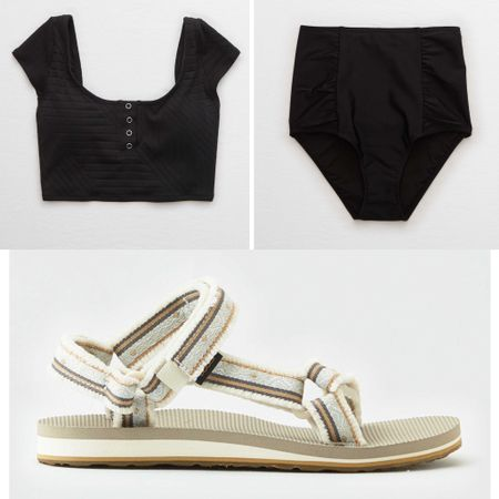 Ribbed high rise two piece swim | perfect for outdoor play | easy to style | waterproof and universal teva sandals | summer outfits #liketkit #LTKshoecrush #LTKtravel #LTKswim @liketoknow.it http://liketk.it/2NT1h