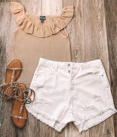 Affordable Fashion|   Casual Summer outfit!   Target|TargetfindsWalmartStyle|WalmartFind|Scoopstyle|wildfable|wildfabletarget| studdedsandals|ruffletop|neutrualoutfut|neutralstyle|walmartoutfit|targeyoutfit neutralsummeroutfit|stylebyayalin|styleinspo|summeroutfit|thelilliebag|summeroutfit2021|highrisejeanshorts|   #LTKsalealert #LTKunder50 #LTKstyletip