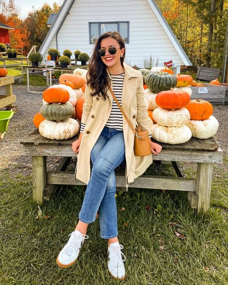 Soaking up this beautiful fall weather! 🍂☀️ #ltkunder100 #fallstyle #casualstyle #stripedtee #sneakers #veja