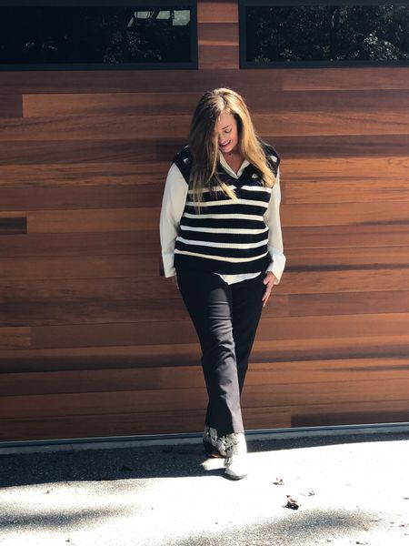 The ever popular trending sweater vest.. Paired it with slimming black plants and satin shirt….added a pop of animal Print with my snake-print booties….I plan on purchasing some more fun vests . Have you jumped on this trend?  #LTKSeasonal #LTKstyletip #LTKcurves