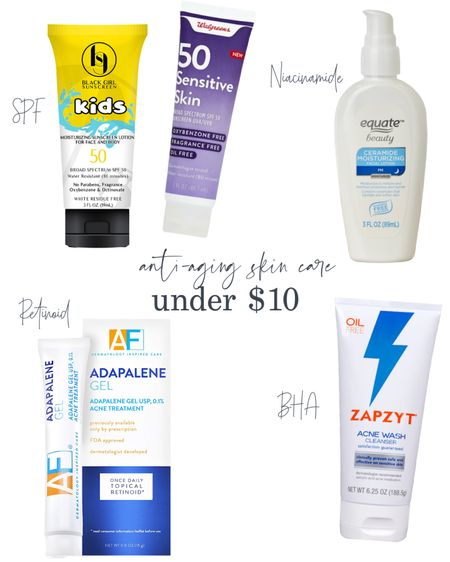 Sharing some anti-aging skin care products for under $10.  1. Sunscreen is the most important thing you can do to prevent and minimize photoaging. Walgreens sensitive is a combination sunscreen with a modest cast. Black girl kids sunscreen is a chemical sunscreen with no cast,   2. Niacinamide is an antioxidant that helps reduce oxidative stress in the skin, prevents skin yellowing, fades age spots, & reduces redness. It is in the Equate PM moisturizer, along with ceramides for the skin barrier.  3. Adapalene, a retinoid, can help fade age spots and improve the signs of photoaging. Acne free's Adapalene is less than $8 for 0.5oz. I also suggest the CVS adapalene gel, which is even less expensive per ounce.   4. BHA cleansers help to remove sun damaged skin cells, improve discoloration, and reduce inflammation. The Zapzyt 2% BHA cleanser is a long-standing favorite and very budget friendly.     #LTKunder50 #LTKbeauty