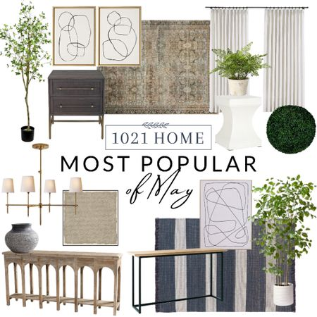 Rug, faux tree, artificial tree, art, nightstand, console table, entryway, curtains, drapes, chandelier, Wayfair, studio McGee, family room, living room    http://liketk.it/3gWQR #liketkit @liketoknow.it #LTKstyletip #LTKhome #LTKfamily @liketoknow.it.home