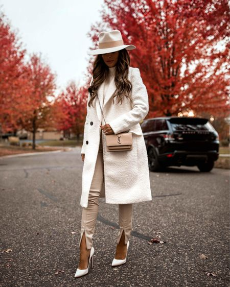 Fall outfit  Similar Express boucle coat White pumps on sale at SSENSE with code FW2021 Tan faux leather pants     #LTKworkwear #LTKstyletip #LTKshoecrush