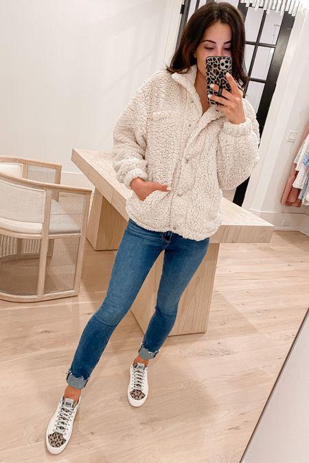 http://liketk.it/3jG1F @liketoknow.it #liketkit  Sherpa jacket (xs) jeans (tts) sneakers (size up half if btwn sizes)