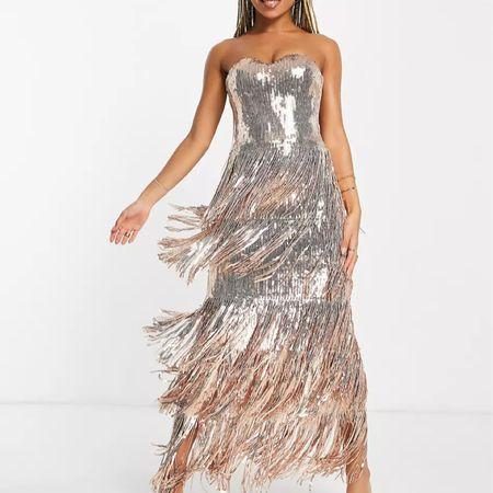 Gold fringe sequin maxi dress   #LTKwedding #LTKHoliday #LTKSeasonal