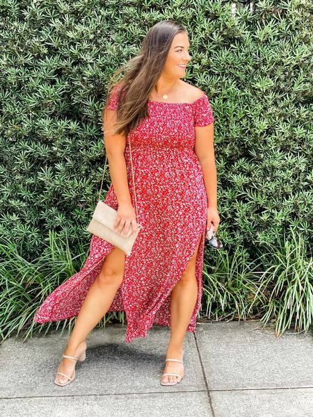 """Looking for the weekend like """"where'd you go!?"""" — for sure already excited for next weekend. I wore this dress to dinner the other night at Bartaco and I loved it. So comfortable and under $35!  It would be a great option for a guest at a wedding too!   #LTKunder50 #LTKSeasonal #LTKwedding"""