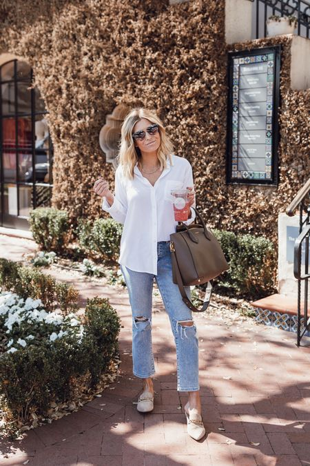 White button down with jeans and suede mules ✨🖤  #LTKunder100 #LTKshoecrush #LTKSeasonal