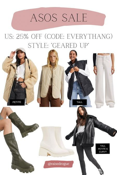 IG experts say outdoorsy gear is a trend to try this fall!   Sharing some items that are 25% off in the US with code: EVERYTHANG  Sherpa jacket   fleece vest   knee high boots   rain boots   quilted vest   #LTKunder50 #LTKsalealert #LTKunder100