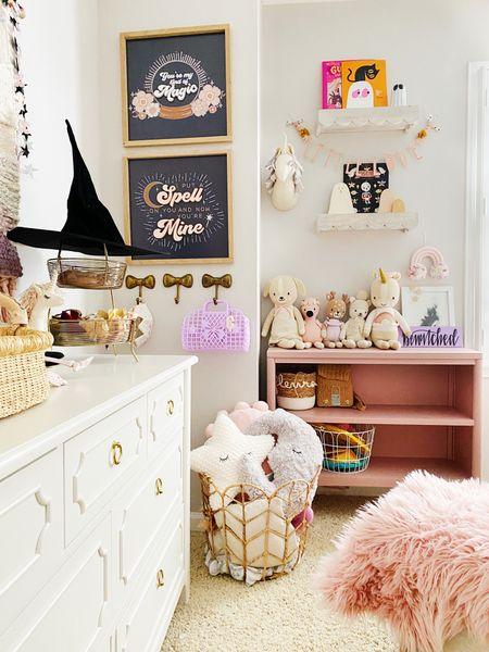 Baby girl nursery, pottery barn kids dresser, shelfie, Halloween decor, Halloween books  #LTKkids #LTKfamily #LTKbaby