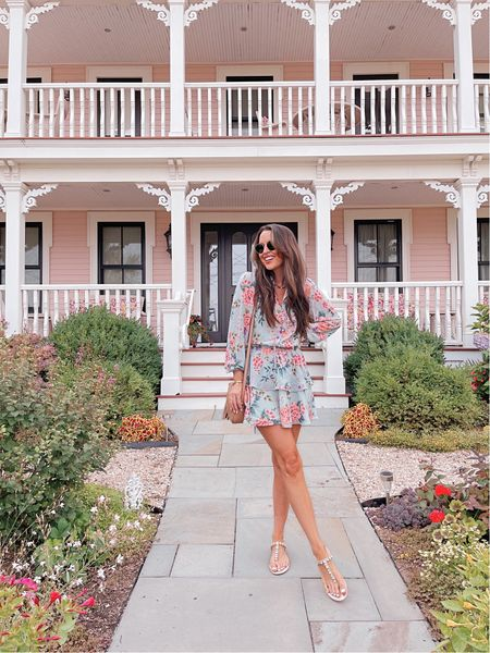 Floral mini dress with embellished sandals for summer! Dress runs true to size!       #LTKstyletip