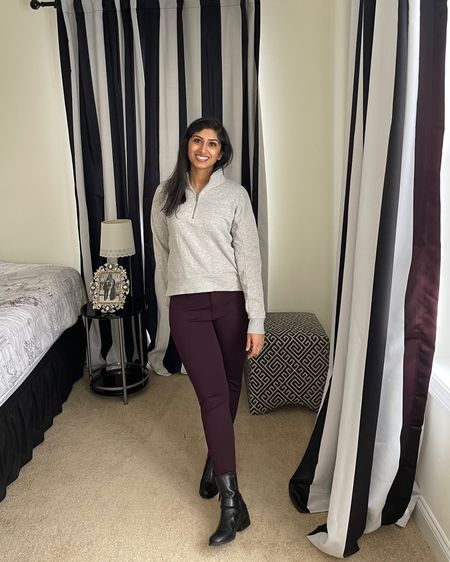 I was sent these plum colored pants by StitchFix and loved them.  I'm unable to find the same exact item but I found a similar item by the same brand and linked it below. I'm wearing these pants in 6P.  The pants I'm wearing are super stretchy so I found that I did need a belt to keep them from sliding down a little. A belt definitely did the trick!   http://liketk.it/3dVM9 #liketkit @liketoknow.it #LTKunder100 @liketoknow.it.family   Shop my daily looks by following me on the LIKEtoKNOW.it shopping app