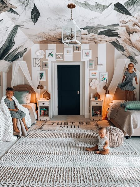 Shared girls bedroom refresh with light weight quilts, patterned soft sheets, an art gallery just for them, ans cozy textured layers.  Throw pillows  Blankets   http://liketk.it/3iHX7 #liketkit @liketoknow.it #LTKhome @liketoknow.it.home target style target home target finds