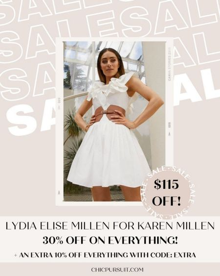 SALE ALERT! This beautiful white dress/ summer dress is part of Lydia Elise Millen for Karen Millen and it's 30% off + 10% extra with code EXTRA in their Memorial Day Sale!! The pieces are so beautiful!!😍 #LTKsalealert #LTKSpringSale #LTKstyletip http://liketk.it/3giPh @liketoknow.it #liketkit