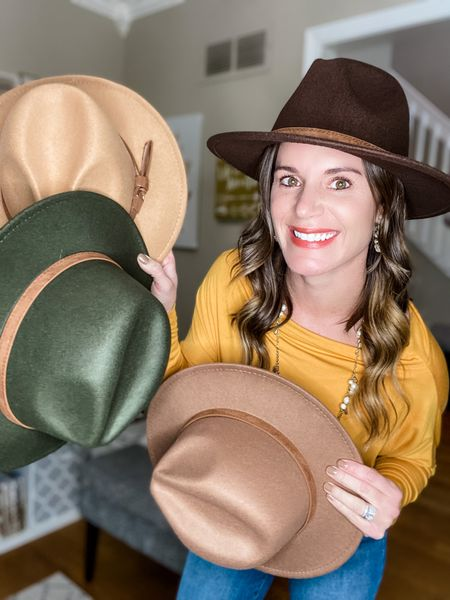 Wide brim fedora with buckle! Perfect for fall family pictures.   Camel (top) Khaki (bottom)  Coffee  (wearing) Olive (middle)   Only $16.45    #LTKunder50 #LTKstyletip #LTKSeasonal